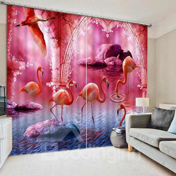 Plenty of Flamingos Walking and Flying Print 3D Blackout Curtain
