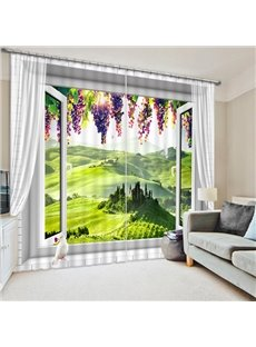 Green Field out of the Window Print 3D Blackout Curtain