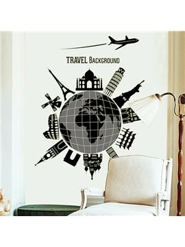 New Arrival Travel Around The World Pattern Wall Sticker