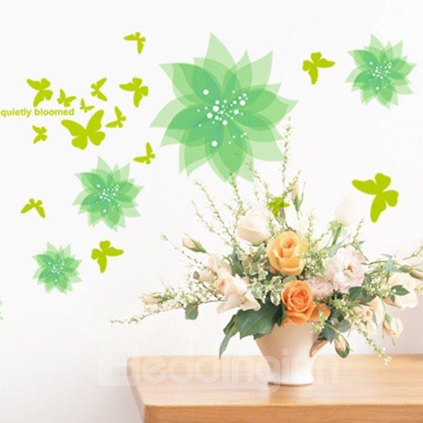 Green Flowers and Butterflies Wall Sticker