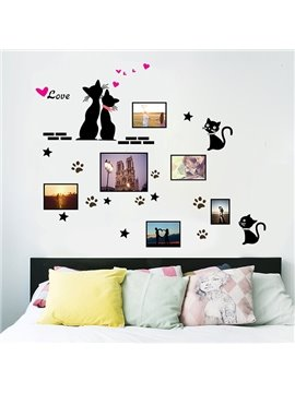 Black Cats and Hearts Photo Frame Wall Sticker