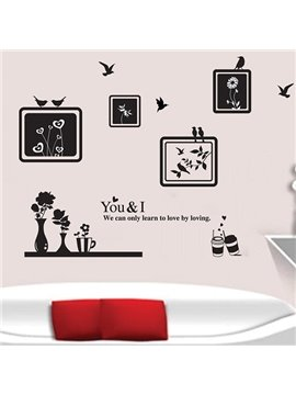 Hot Sale Photo Frames and Birds Pattern Wall Sticker
