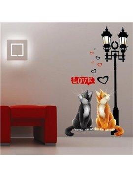 Decorative Two Cute Cat Love Pattern Wall Sticker