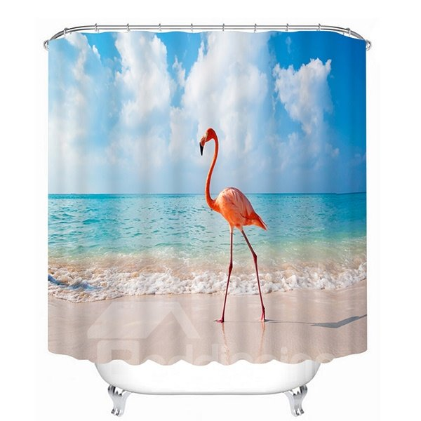A Flamingo Standing on the Beach Print 3D Bathroom Shower Curtian