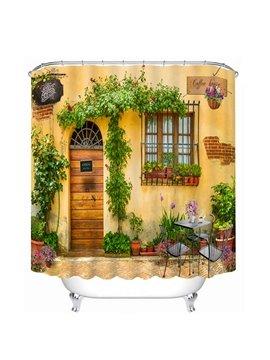 The Wooden Door and Flowers at the Door Print 3D Bathroom Shower Curtain