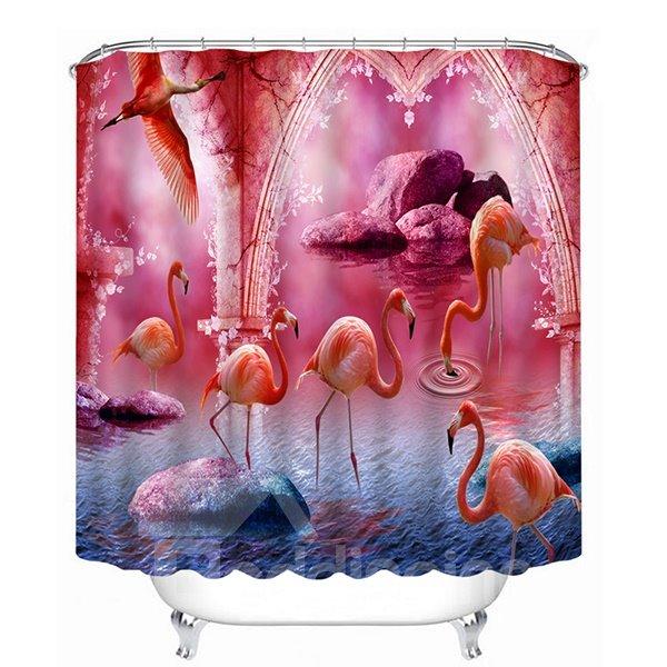 Plenty of Flamingos Walking and Flying Print 3D Bathroom Shower Curtain