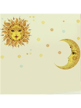 Golden Sun and Moon Wall Stickers for Home Decoration