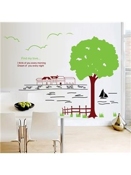 Simple Tree and River Scenery Wall Sticker