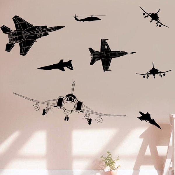 Black Simple Style Airplane Pattern Wall Sticker