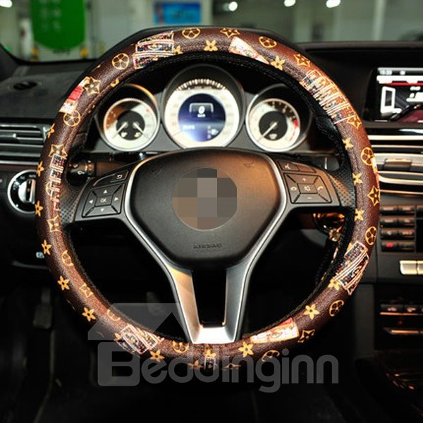 Creative Printed Coffee Color And Most Touch Feel Steering Wheel Cover