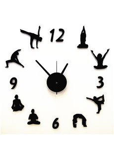 Black Simple Exercise Movement Pattern Wall Clock