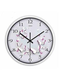 Hot Sale Simple White Butterfly Pattern Wall Clock