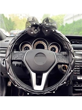 Luxurious Style With Black Flower Leather Material Steering Wheel Cover