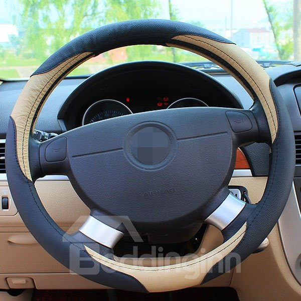 Leather Material Classic Business Style Steering Wheel Cover