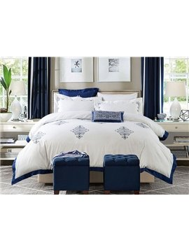 Excellent Embroidery Blue Trim White Background 4 Pieces Cotton Bedding Sets