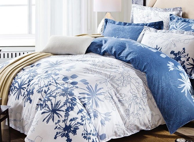 Unique Charming Flowers Print 4 Pieces Cotton Bedding Sets