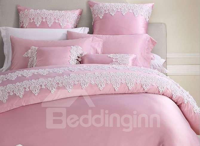 Fantastic Graceful Lace Trim Pink 4-Piece Polyester Bedding Sets