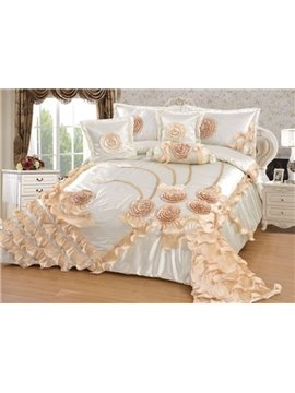 Romantic Exquisite Falbala 6 Pieces Polyester Bedspread Set