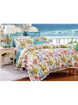 Excellent Romantic Flowers Print 4-Piece Tencel Duvet Cover Sets