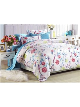 Magnificent Flowers Print 4-Piece Tencel Duvet Cover Sets