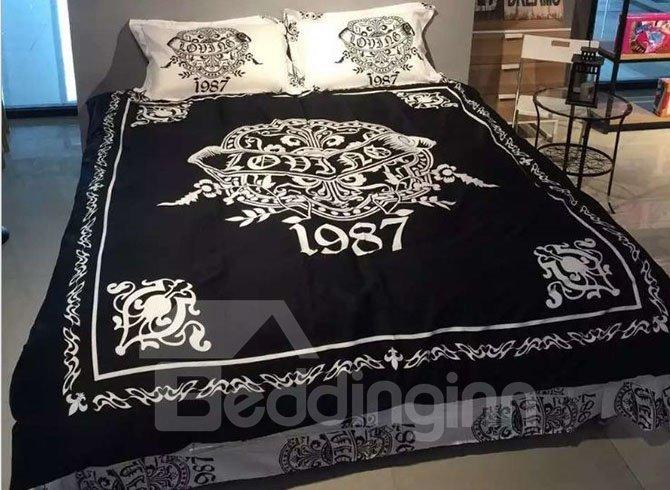 Magnificent Concise Design Black 4-Piece Cotton Bedding Sets