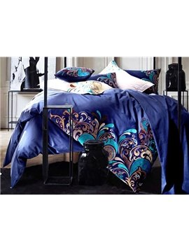Noble Elegant Embroidery Blue 4-Piece Cotton Bedding Sets