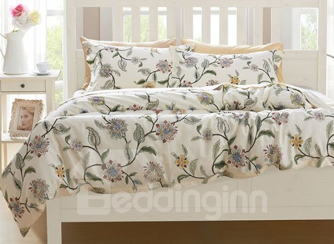 Fresh Style Chic Flowers Print 4-Piece Cotton Bedding Sets