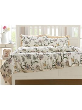 Fresh Style Chic Flowers Print 4-Piece Cotton Bedding Sets