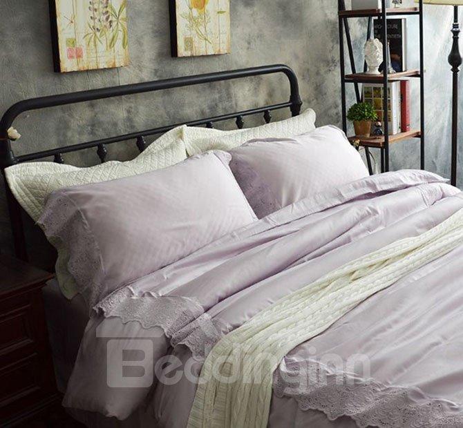 Princess Style Pink Lace 4-Piece Cotton Bedding Sets