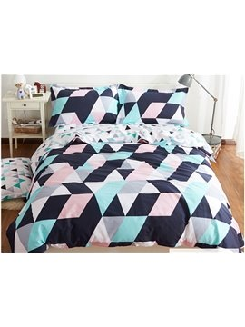 Fashion Style Rhombus Print 4-Piece Cotton Duvet Cover Sets