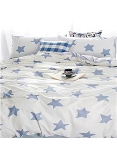 Fantastic Blue Star Print White 4-Piece Cotton Duvet Cover Sets