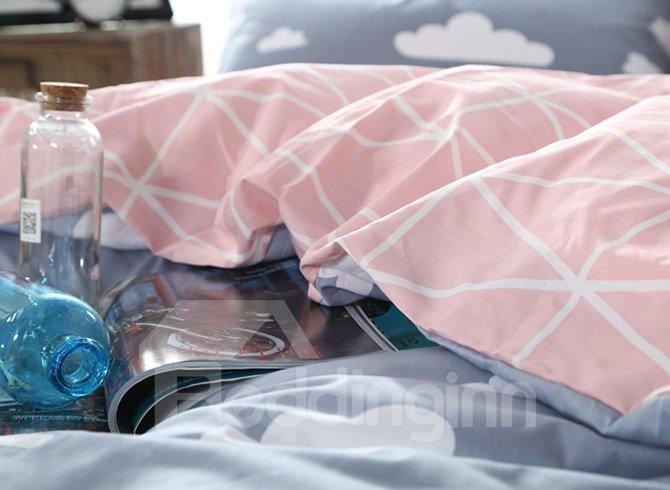 Super Cute Clouds Print Grey 4-Piece Cotton Duvet Cover Sets