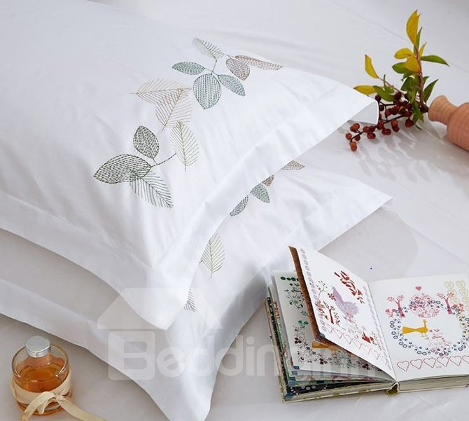 Chic Leaves Embroidery White 4-Piece Cotton Duvet Cover Sets