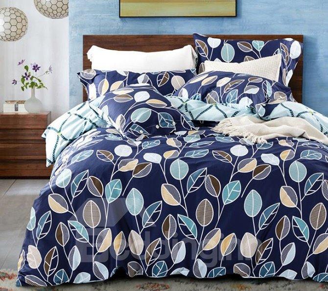 Adorable Concise Leaves Print Blue 4-Piece Cotton Duvet Cover Sets