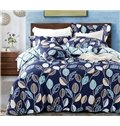 Adorable Concise Leaves Print Blue 4-Piece Cotton Duvet Cover Sets