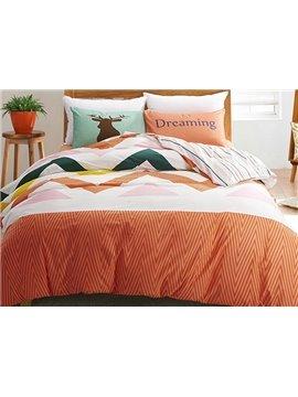 Elegant Colorful Ripple Design 4-Piece Cotton Duvet Cover Sets
