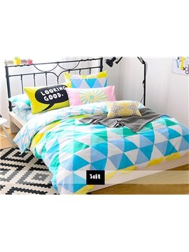 Beautiful Unique Triangle Pattern 4-Piece Cotton Duvet Cover Sets