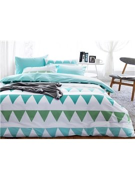 Minimalist Green Triangle Pattern 4-Piece Cotton Duvet Cover Sets