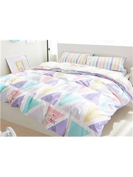Cozy Colorful Triangle Print 4-Piece Cotton Duvet Cover Sets