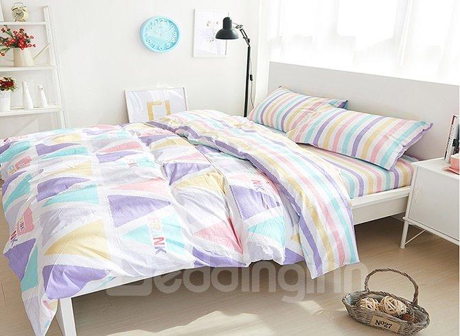 Cozy Colorful Triangle Print 4-Piece Cotton Duvet Cover Sets