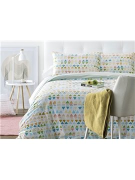 Unique Triangle Pattern 4-Piece Cotton Duvet Cover Sets