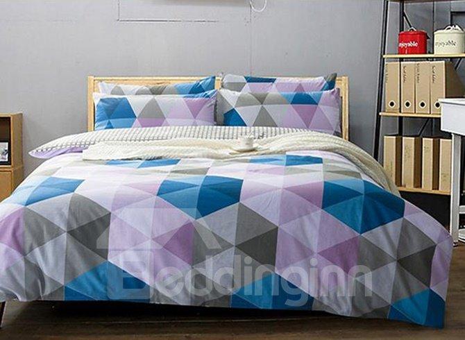 Classical Colorful Triangle Print 4-Piece Cotton Duvet Cover Sets