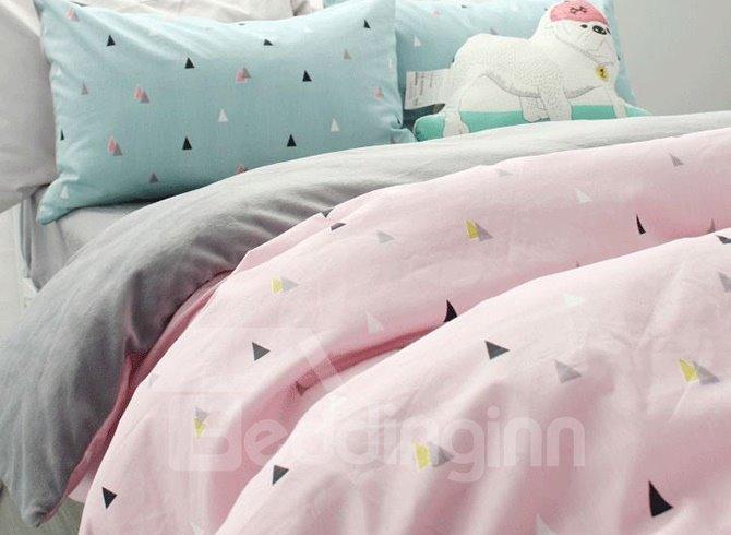 Fashion Concise Triangle Print Pink 4-Piece Cotton Duvet Cover Sets