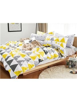 Popular Concise Triangle Print 4-Piece Cotton Duvet Cover Sets