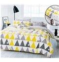 Popular Concise Triangle Print 4-Piece Cotton Duvet Cover Sets