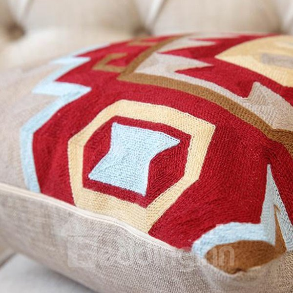 Stylish Design Red and Blue Rhombus Print Throw Pillowcase