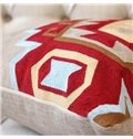 Stylish Design Red and Blue Rhombus Print Throw Pillowcase