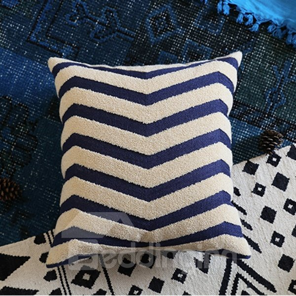 Neutral Concise Design Ripple Print Throw Pillowcase