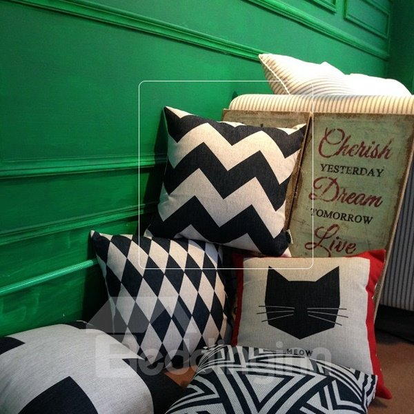 Popular Black and White Ripple Print Throw Pillowcase