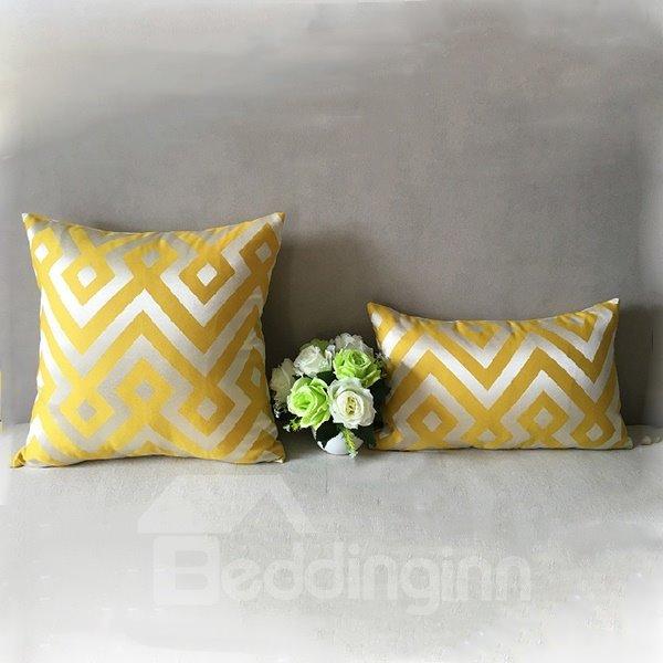 2-Piece Classy Stylish Ripple Print Yellow Throw Pillowcases
